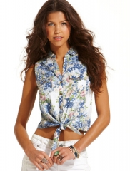 Printed cropped tie front shirt by American Rag at Macys