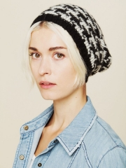Printed intarsia beanie at Free People