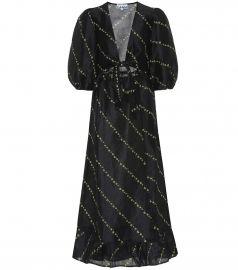 Printed linen and silk midi dress at Mytheresa