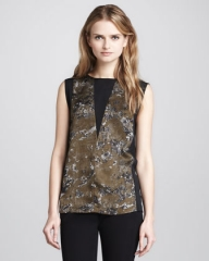 Printed panel top by Robert Rodriguez at Neiman Marcus