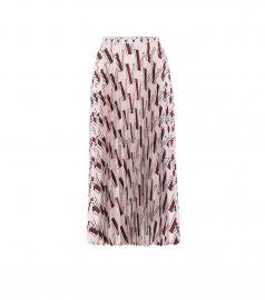 Printed pleated silk midi skirt at Mytheresa