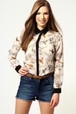 Printed shirt with black contrast collar at Boohoo