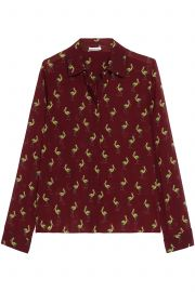 Printed silk-blend crepe de chine shirt at The Outnet