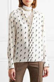 Printed silk-crepe blouse at Net A Porter