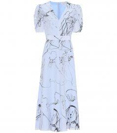 Printed silk midi dress at Mytheresa