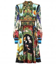 Printed silk twill midi dress at Mytheresa