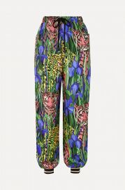 Printed silk-twill track pants at Net a Porter