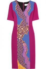 Printed stretch-wool crepe dress at The Outnet