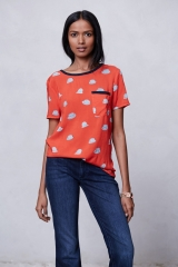 Printmaker Blouse in red hats at Anthropologie