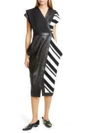 Proenza Schouler Stripe Silk Crepe & Leather Midi Wrap Dress at Nordstrom