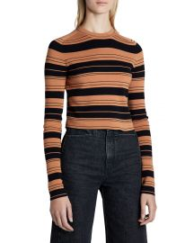 Proenza Schouler White Label Compact Striped Cropped Crewneck Pullover at Neiman Marcus