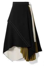 Proenza Schouler - Draped pleated wrap-effect crepe midi skirt at Net A Porter