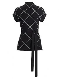 Proenza Schouler - Funnelneck Windowpane Check Sweater at Saks Fifth Avenue
