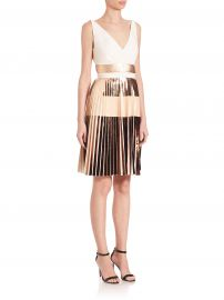 Proenza Schouler - Pleated Metallic Stripe Cocktail Dress in Pink at Saks Fifth Avenue