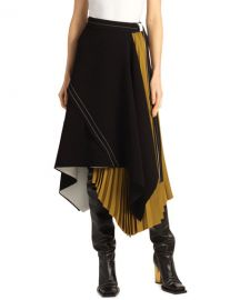 Proenza Schouler Asymmetric Pleated Matte-Crepe Skirt at Neiman Marcus