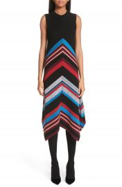 Proenza Schouler Chevron Stripe Wool  amp  Silk Blend Ottoman Dress at Nordstrom