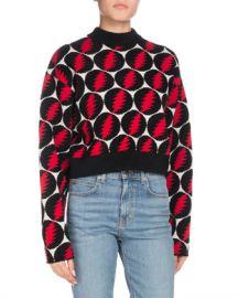 Proenza Schouler Crewneck Long-Sleeve Lightning-Bolt Pullover Sweater at Neiman Marcus