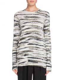 Proenza Schouler Crewneck Long-Sleeve Tie-Dye Cotton T-Shirt at Neiman Marcus