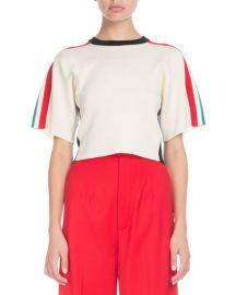 Proenza Schouler Crewneck Short-Sleeve Racer-Stripe Crop Sweater at Neiman Marcus
