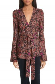 Proenza Schouler Floral Print Georgette Wrap Top at Nordstrom