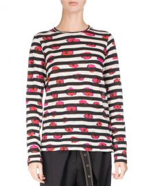 Proenza Schouler Long-Sleeve Floral Striped Tee at Bergdorf Goodman
