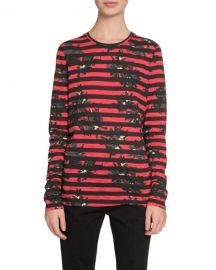 Proenza Schouler Long-Sleeve Splattered-Floral-Print T-Shirt  Red at Neiman Marcus