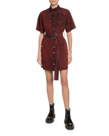 Proenza Schouler PSWL Short-Sleeve Belted Snap-Front Shirt Dress at Neiman Marcus