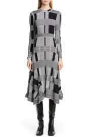 Proenza Schouler Plaid Long Sleeve A-Line Sweater Dress   Nordstrom at Nordstrom