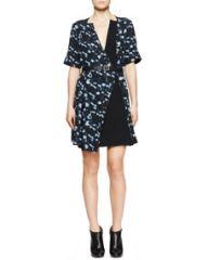Proenza Schouler Printed Belted Half-Sleeve Dress at Neiman Marcus