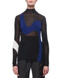 Proenza Schouler Sheer Wave-Knit Colorblock Top at Bergdorf Goodman