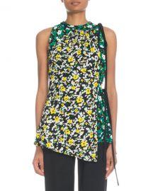 Proenza Schouler Sleeveless Asymmetric Wildflower-Print Viscose Top at Neiman Marcus