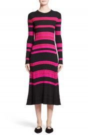 Proenza Schouler Stripe Cashmere  Wool   Silk Midi Dress at Nordstrom