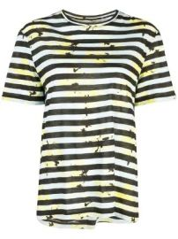 Proenza Schouler Striped Floral Splatter Short Sleeve T-Shirt Striped Floral Splatter Short Sleeve T-Shirt at Farfetch
