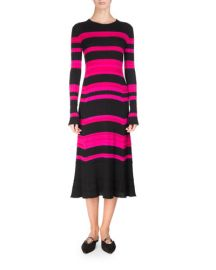 Proenza Schouler Striped Rib Knit Long-Sleeve Midi Dress  Multicolor at Neiman Marcus