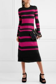Proenza Schouler Striped ribbed wool-blend midi dress at Net A Porter