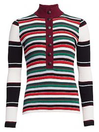 Proenza Schouler White Label - Ribbed Rugby Striped Turtleneck Sweater at Saks Fifth Avenue