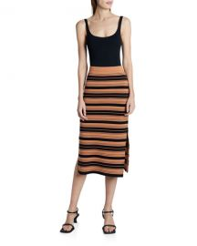 Proenza Schouler White Label Compact Striped Midi Skirt at Neiman Marcus