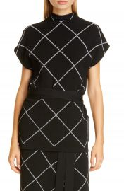 Proenza Schouler Windowpane Check Knit Mock Neck Top   Nordstrom at Nordstrom