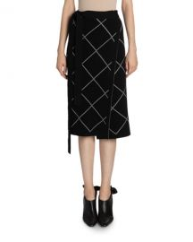 Proenza Schouler Windowpane-Print Wrapped Skirt at Neiman Marcus