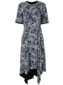 Proenza Schouler Zebra Print Short Sleeve Draped Dress - Farfetch at Farfetch