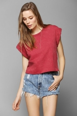 Project Social T Roll-Sleeve Cropped Tee at Urban Outfitters