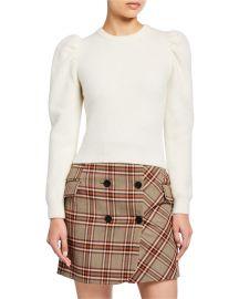 Puff-Sleeve Alpaca Sweater at Neiman Marcus