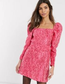 Puff Sleeve Belt Detail Mini Dress in Pink Floral Jacquard by and Other Stories at Asos