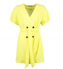 Puff Sleeve Belted Button Blazer Dress at Boohoo