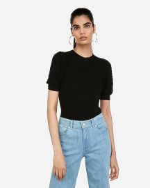 Puff Sleeve Crew Neck Pullover Sweater at Express