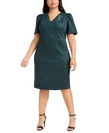 Puff-Sleeve Faux-Suede Dress by Calvin Klein at Macys