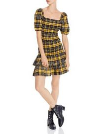 Puff-Sleeve Plaid Smocked Top  Flannel Skirt by Aqua at Bloomingdales