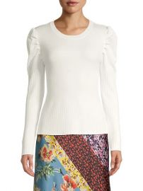 Puff-Sleeve Ribbed Pullover at Saks Off 5th