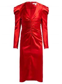 Puff-Sleeve Ruched Satin Midi Dress by Jonathan Simkhai at Matches