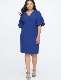 Puff Sleeve V-Neck Dress by Eloquii at Eloquii